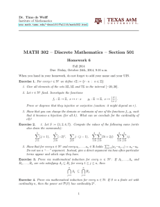 MATH 302 – Discrete Mathematics – Section 501 Homework 6