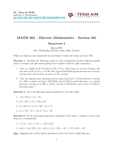 MATH 302 – Discrete Mathematics – Section 501 Homework 2