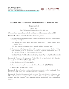 MATH 302 – Discrete Mathematics – Section 501 Homework 4