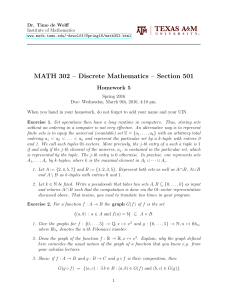 MATH 302 – Discrete Mathematics – Section 501 Homework 5