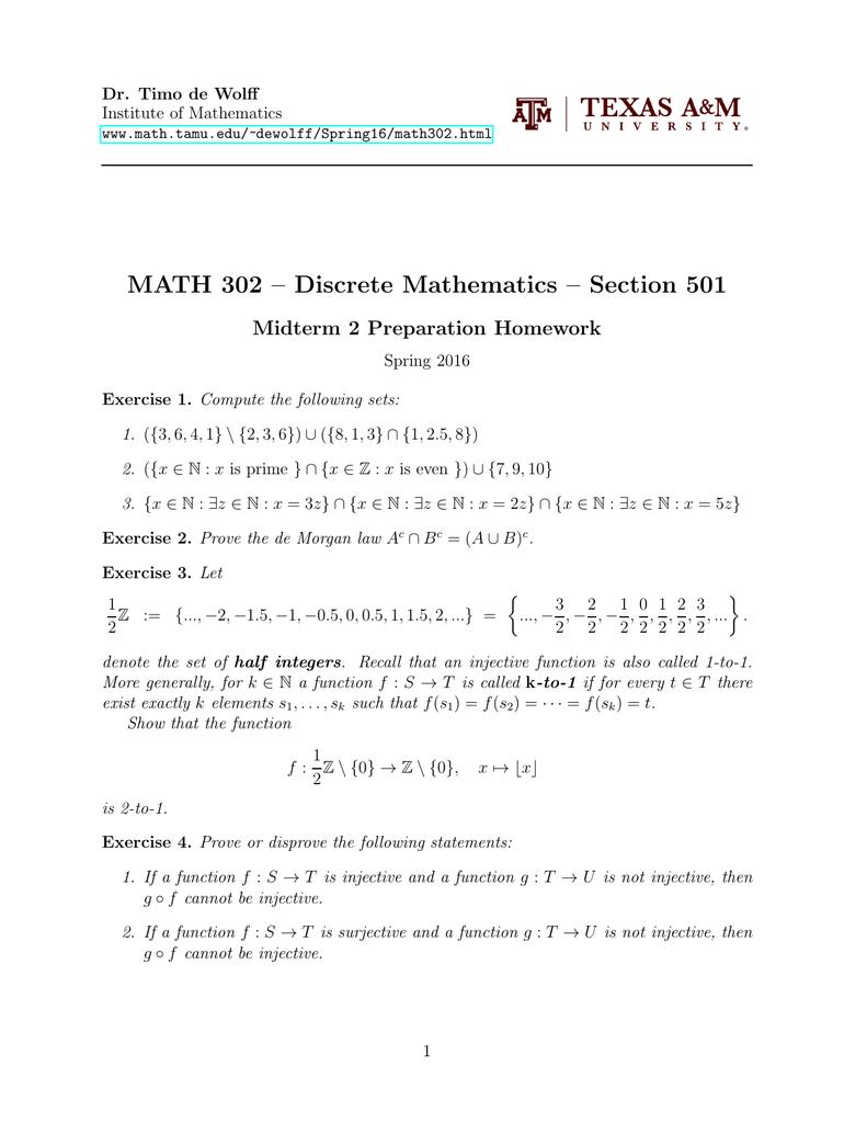 MATH 302 – Discrete Mathematics – Section 501