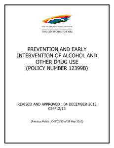 PREVENTION AND EARLY INTERVENTION OF ALCOHOL AND OTHER DRUG USE