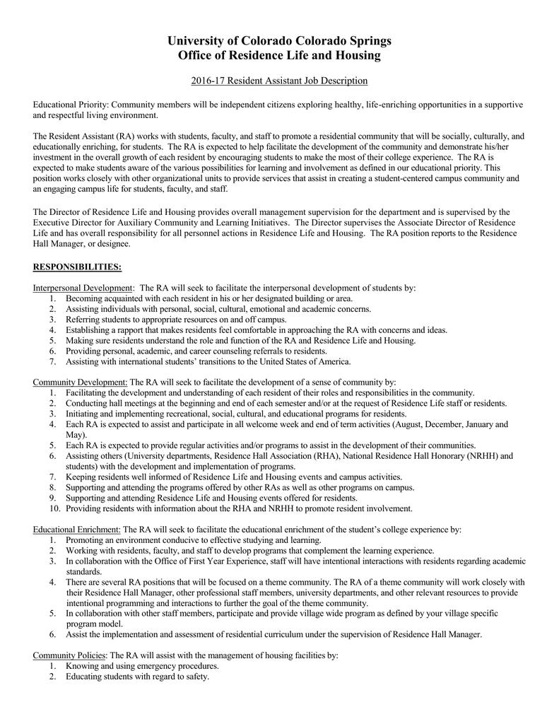 assistant hall director job description assistant hall director job description 49 assistant hall director job description
