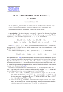 ON THE CLASSIFICATION OF THE LIE ALGEBRAS L. A-M. HANNA