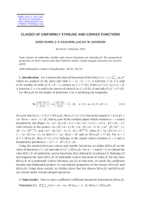 CLASSES OF UNIFORMLY STARLIKE AND CONVEX FUNCTIONS