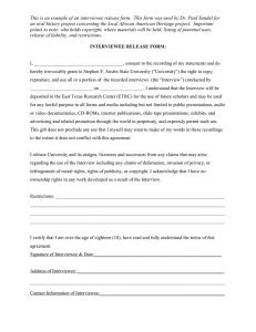 This is an example of an interviewee release form. ... an oral history project concerning the local African American Heritage...