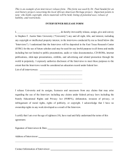 Sample permission request letter this is an example of an interviewer release form oral history project altavistaventures Gallery