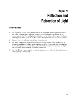 Reflection and Refraction of Light Chapter 22 Quick Quizzes