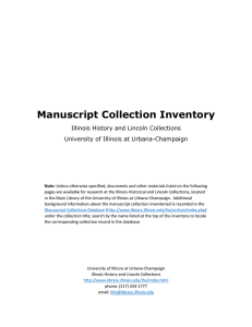 Manuscript Collection Inventory  Illinois History and Lincoln Collections