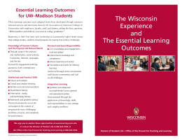 The Wisconsin Experience Essential Learning Outcomes for UW–Madison Students