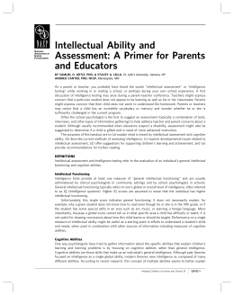 Intellectual Ability and Assessment: A Primer for Parents and Educators