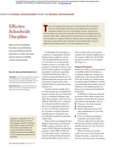 Effective Schoolwide Discipline from the