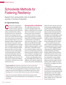 Schoolwide Methods for Fostering Resiliency Student Services B