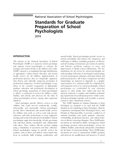 Standards for Graduate Preparation of School Psychologists National Association of School Psychologists