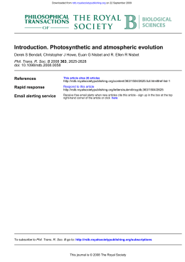 Introduction. Photosynthetic and atmospheric evolution