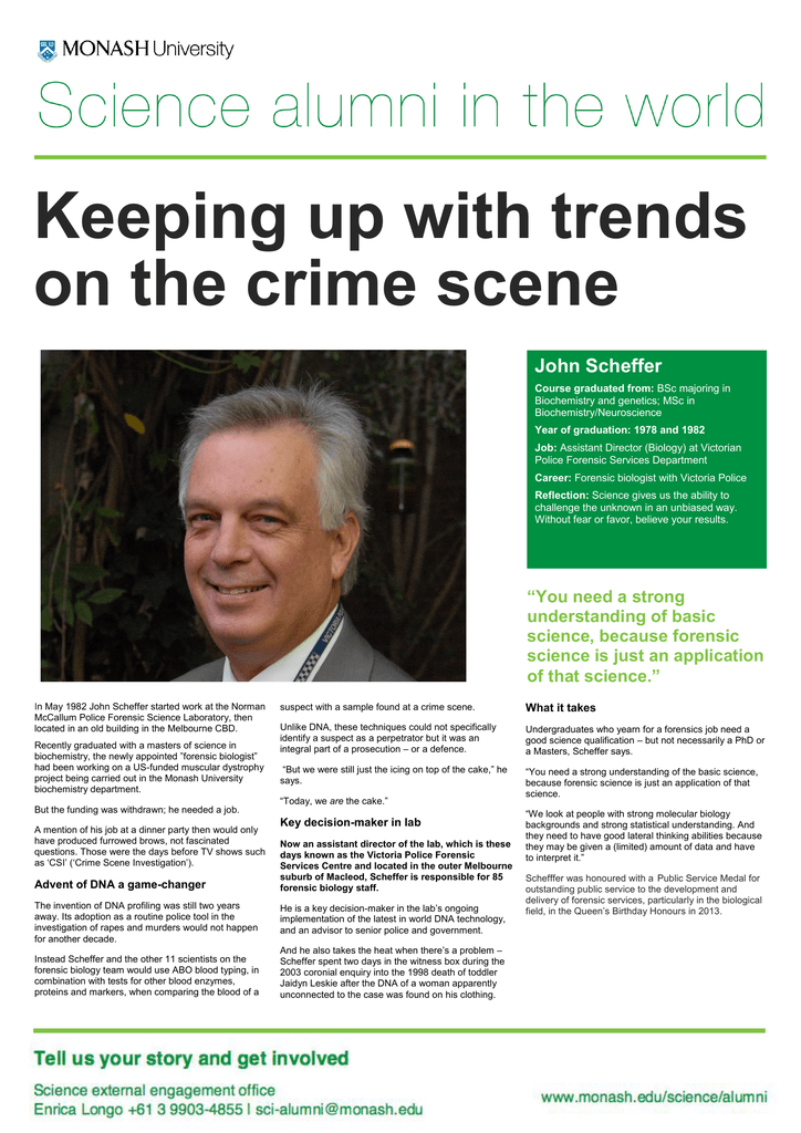 Keeping Up With Trends On The Crime Scene John Scheffer