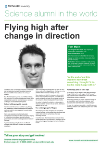 Flying high after change in direction  Tom Mann