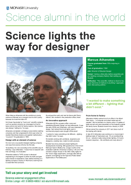 Science lights the way for designer  Marcus Athanatos