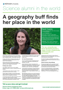 A geography buff finds her place in the world her place Sarah Cousins