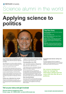 Applying science to politics love of science