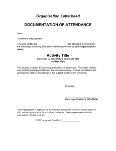 Organization Letterhead  DOCUMENTATION OF ATTENDANCE