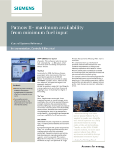 Patnow II– maximum availability from minimum fuel input Control Systems Reference