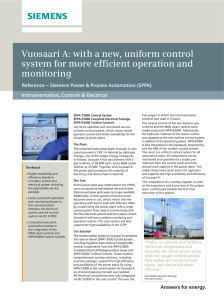 Vuosaari A: with a new, uniform control monitoring Instrumentation, Controls & Electrical