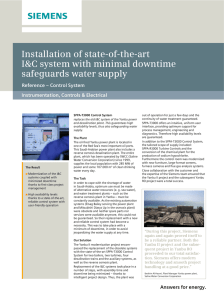 Installation of state-of-the-art I&C system with minimal downtime safeguards water supply