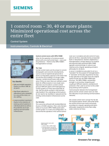 1 control room – 30, 40 or more plants: entire fleet