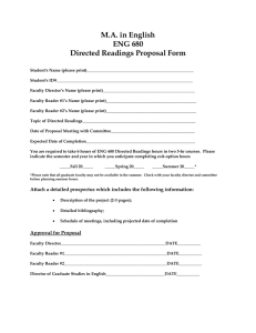 M.A. in English ENG 680 Directed Readings Proposal Form