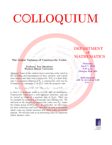 DEPARTMENT of MATHEMATICS The Galois Variance of Constacyclic Codes