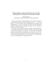 EQUIVALENCE AND INVARIANTS OF SCALAR VARIATIONAL PROBLEM OF HIGHER ORDER