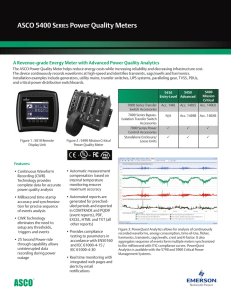ASCO 5400 S Power Quality Meters eries