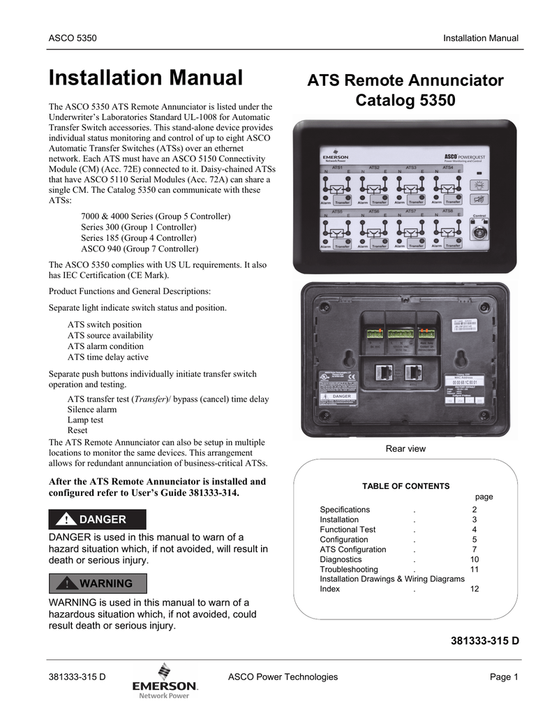 Installation Manual Ats Remote Annunciator Catalog 5350 Asco 185 Transfer Switch Wiring Diagram
