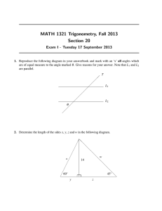 MATH 1321 Trigonometry, Fall 2013 Section 20