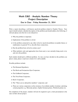 Math 5362 - Analytic Number Theory Project Description