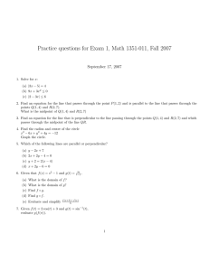Practice questions for Exam 1, Math 1351-011, Fall 2007
