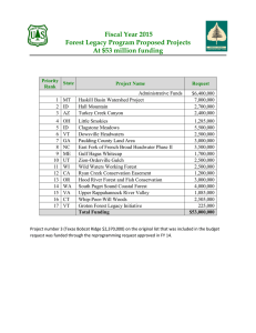 Fiscal Year 2015 Forest Legacy Program Proposed Projects At $53 million funding
