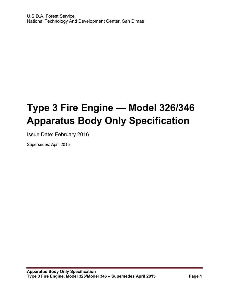 Type 3 Fire Engine Model 326 346 Apparatus Body Only Specification Wildfire Wiring Diagram
