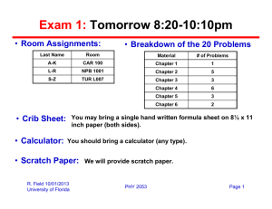 Exam 1: Tomorrow 8:20-10:10pm Room Assignments: Breakdown of the 20 Problems