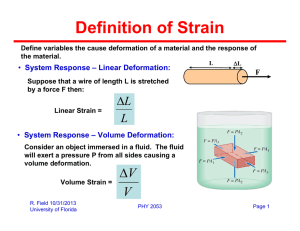 Definition of Strain System Response – Linear Deformation: F