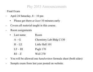 Phy 2053 Announcements