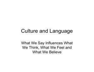 Culture and Language What We Say Influences What What We Believe