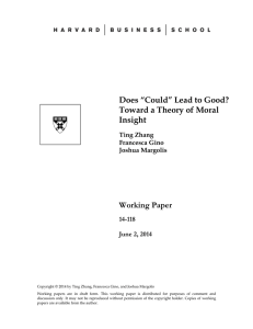 "Does ""Could"" Lead to Good? Toward a Theory of Moral Insight Working Paper"