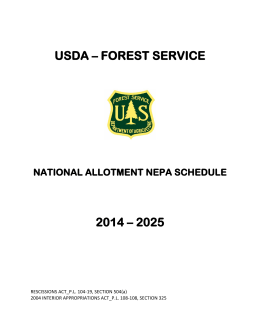 USDA – FOREST SERVICE 2014 – 2025 NATIONAL ALLOTMENT NEPA SCHEDULE