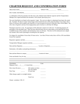 CHARTER REQUEST AND CONFIRMATION FORM