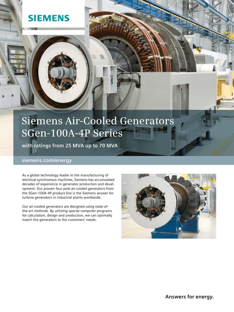 Siemens Air Cooled Generators SGen 100A 4P Series siemens energy
