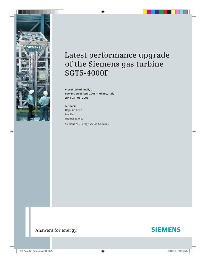 Latest performance upgrade of the Siemens gas turbine SGT5