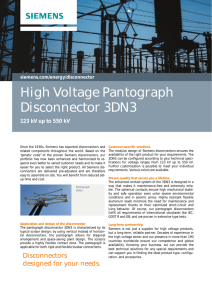 High Voltage Pantograph Disconnector 3DN3 123 kV up to 550 kV