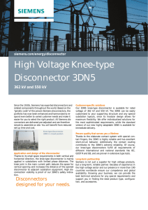 High Voltage Knee-type Disconnector 3DN5 362 kV and 550 kV